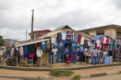 Clothes shop in Africa, Nigeria Stock Images