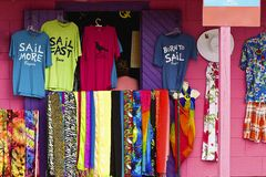 Clothes shop in Bequia, Grenadines Royalty Free Stock Images