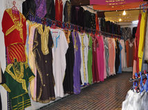 Clothes shop in medina of Fes,Morocco Royalty Free Stock Photos