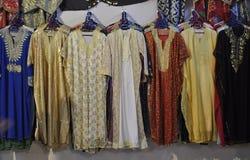 Clothes shop in medina of Fes,Morocco stock photos
