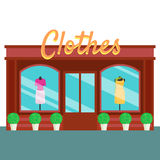 Clothes shop and store, building front flat style. Vector illustration Stock Photography