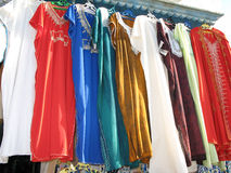 Clothes shop in Tunis. Closeup of articles of clothing displayed in a shop in Tunis, Tunisia Royalty Free Stock Photography