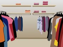 Clothes in shop vector Stock Photo