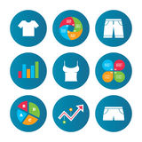 Clothes signs. T-shirt and pants with shorts. Royalty Free Stock Photo