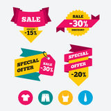 Clothes signs. T-shirt and pants with shorts. Royalty Free Stock Images
