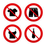 Clothes signs. T-shirt and pants with shorts Royalty Free Stock Image