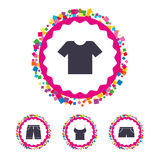 Clothes signs. T-shirt and pants with shorts. Royalty Free Stock Image