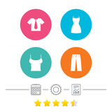 Clothes signs. T-shirt with tie and pants. Stock Image