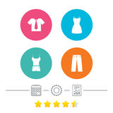 Clothes signs. T-shirt with tie and pants. Stock Photography