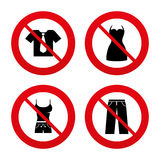 Clothes signs. T-shirt with tie and pants Stock Photo