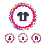Clothes signs. T-shirt with tie and pants. Royalty Free Stock Images