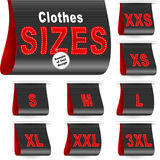 Clothes Size Label Marketing Tag Sticker Sewn Set Black Stock Photography