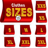 Clothes Size Label Marketing Tag Sticker Sewn Set Red Stock Image