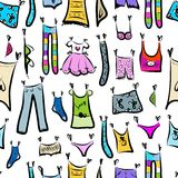 Clothes sketch, seamless pattern for your design Royalty Free Stock Photo