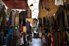 Clothes Souk, Tripoli, Lebanon. A clothes market in a traditional old souk in Tripoli, Lebanon stock photos