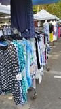 Clothes stall on market in Europe Stock Photography