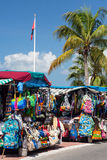 Clothes stall in market in Marigot St Martin. MARIGOT, SAINT MARTIN - NOVEMBER 1: Clothes stall in street market in Marigot, St Martin on November 1, 2012 Stock Image