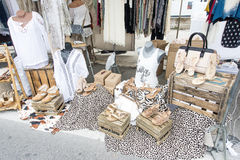 Clothes stall street market La Ciotat Royalty Free Stock Image