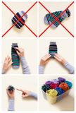 Clothes storage. Order in the closet. Folding socks. Master Clas Stock Photo
