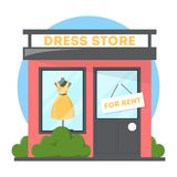 Clothes store with dress on the showcase. Boutique facade stock illustration