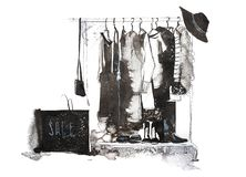 Clothes store. Shop with new collection Womens clothing on hanger. stock illustration