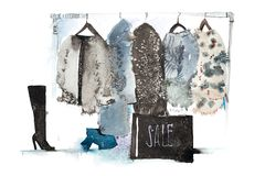 Clothes store. Shop with new collection Womens clothing on hanger. royalty free stock photography