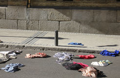 Clothes in the street. Some clothes in the street Stock Images