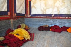 The clothes of tibet monk. In a tibet temple Stock Image