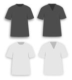 Clothes v-neck and o-neck. Clothing also called clothes and attire is fiber and textile material worn on the body. The wearing of clothing is mostly restricted Stock Images