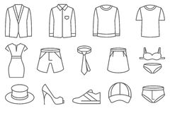Clothes vector line icons set Stock Photos
