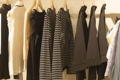 Clothes in the Wardrobe. Nice Ladies Clothes in the Wardrobe Royalty Free Stock Photo