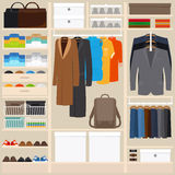 Clothes wardrobe vector illustration Royalty Free Stock Photo