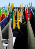 Clothes washed... Coloured clothes-peg on clothes-line Royalty Free Stock Photo