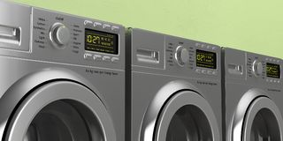 Clothes washing, dryer machines closeup on green wall background. 3d illustration. Laundromat. Clothes washing, dryer machines closeup on green wall background stock illustration