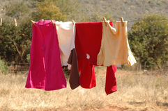 Clothes on washing line. Clothes hanging on a washing line in rural south Africa Royalty Free Stock Photography
