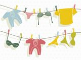 Clothes on washing line. Vector illustration of the Clothes on washing line Royalty Free Stock Photos