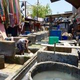 Clothes Washing pits - Dhobi Ghat Mumbai Stock Photo