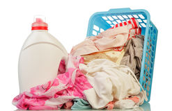 Clothes and washing powder Stock Image