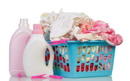 Clothes and washing powder Royalty Free Stock Images