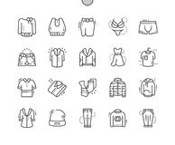 Clothes Well-crafted Pixel Perfect Vector Thin Line Icons 30 2x Grid for Web Graphics and Apps. Simple Minimal Pictogram Royalty Free Stock Images