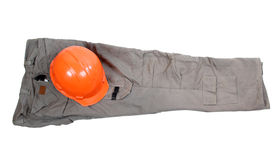 Clothes and work helmet Stock Photos