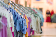 Clothes for young babies in kids mall Royalty Free Stock Photos