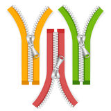 Clothes Zip Set. Vector. Clothes Colorful Zip Set Open Positions. Vector illustration Royalty Free Stock Image
