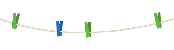 Clothesline. With colorful clothespins on a white, vector illustration Royalty Free Stock Photo