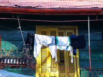 Clothesline. Colorful houses in La Boca Royalty Free Stock Photo