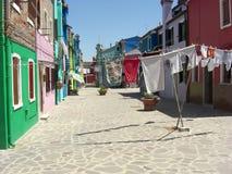 Clothesline di Burano Fotografia Stock Libera da Diritti