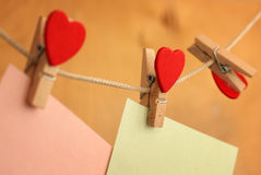 Clothesline with hearts Royalty Free Stock Photography