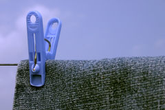 Clothesline I. Jeans hanging on a clothesline with a clothespin Royalty Free Stock Photos