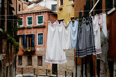 Clothesline with laundry in the streets of beautiful Venice, Ita Stock Images