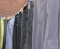 Clothesline outside the house Stock Photo